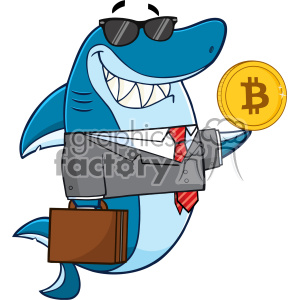 Smiling Business Shark Cartoon In Suit Carrying A Briefcase And Holding A Goden Bitcoin Vector clipart. Royalty-free image # 402808