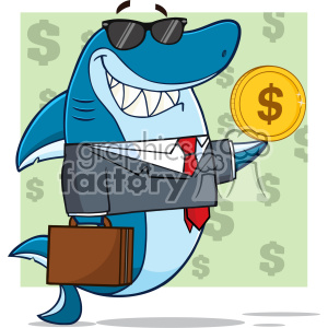 Smiling Business Shark Cartoon In Suit Carrying A Briefcase And Holding A Goden Dollar Coin Vector Illustration With Green Background With Dollar Symbols