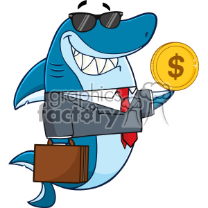 Smiling Business Shark Cartoon In Suit Carrying A Briefcase And Holding A Goden Dollar Coin Vector clipart. Commercial use image # 402820