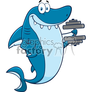 Royalty Free RF Clipart Smiling Blue Shark Cartoon  Training With Dumbbell Vector  Vector  clipart. Royalty-free image # 402830