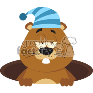 Cute Marmot Cartoon Character With Sleeping Hat Emerging From A Hole Vector Flat Design clipart. Commercial use image # 402840