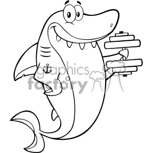 Black And White Smiling Shark Cartoon Training With Dumbbell Vector Vector clipart. Commercial use image # 402845