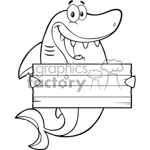 Black And White Happy Shark Cartoon Holding A Wooden Blank Sign Vector clipart. Commercial use image # 402850