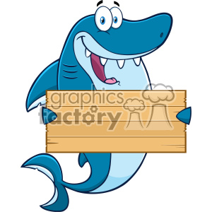Clipart Happy Blue Shark Cartoon Holding A Wooden Blank Sign Vector