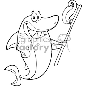 Black And White Smiling Shark Cartoon Holding A Toothbrush With Paste Vector clipart. Royalty-free image # 402860
