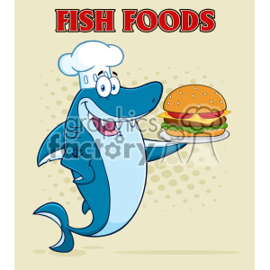 Clipart Chef Blue Shark Cartoon Holding A Big Burger Vector With Halftone Background And Text Fish Foods clipart. Royalty-free image # 402865