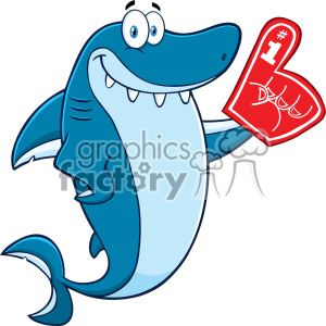 Clipart Cute Blue Shark Cartoon Wearing A Foam Finger Vector clipart. Royalty-free image # 402870