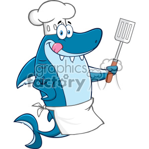 Chef Blue Shark Cartoon Licking His Lips And Holding A Spatula Vector clipart. Royalty-free image # 402882