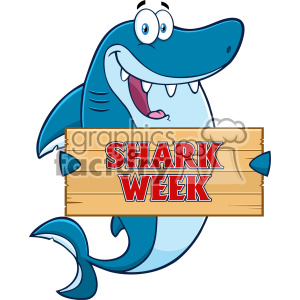 Happy Blue Shark Cartoon Holding A Wooden Sign With Text Shark Week Vector clipart. Commercial use image # 402887