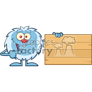 Cute Little Yeti Cartoon Mascot Character Pointing To A Wooden Blank Sign Vector