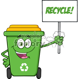 trash garbage recycle bin cartoon character recycling