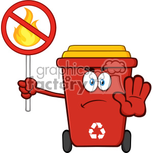 Angry Red Recycle Bin Cartoon Mascot Character Gesturing Stop And Holding A Fire Restricted Sign Vector