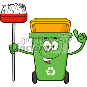 Talking Green Recycle Bin Cartoon Mascot Character Pointing To A Open Lid Vector clipart. Royalty-free image # 402914