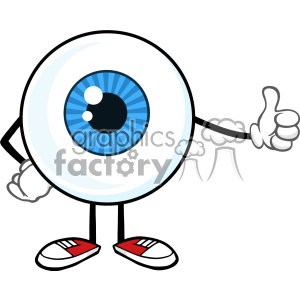 Blue Eyeball Guy Cartoon Mascot Character Giving A Thumb Up Vector clipart. Royalty-free image # 402919
