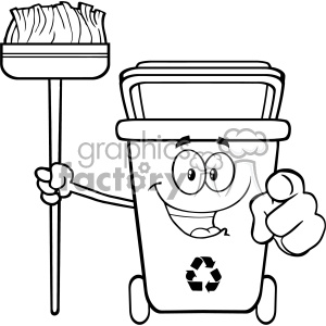 Black And White Open Green Recycle Bin Cartoon Mascot Character Holding A Broom And Pointing For Clining Vector