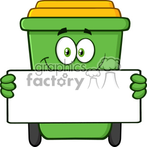 Smiling Green Recycle Bin Cartoon Mascot Character Holding A Blank Sign Vector clipart. Royalty-free image # 402934