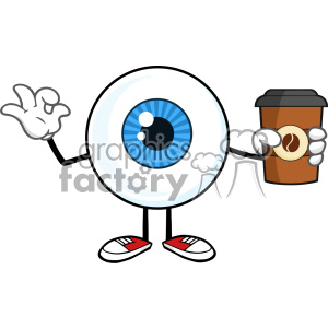 Blue Eyeball Guy Cartoon Mascot Character Holding A Take Out Cup And Gesturing Ok Vector
