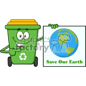 Cute Green Recycle Bin Cartoon Mascot Character Holding A Save Our Earth Sign Vector clipart. Royalty-free image # 402949