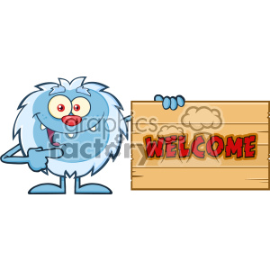 Cute Little Yeti Cartoon Mascot Character Pointing To A Welcome Wooden Sign Vector