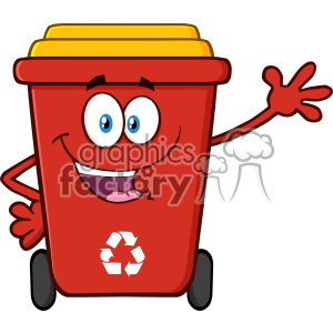 Happy Red Recycle Bin Cartoon Mascot Character Waving For Greeting Vector
