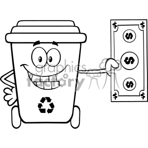 Black And White Smiling Recycle Bin Cartoon Mascot Character Holding A Dollar Bill Vector