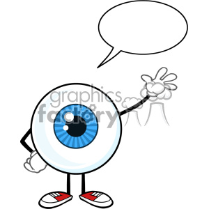 Blue Eyeball Guy Cartoon Mascot Character Waving For Greeting With Speech Bubble Vector clipart. Royalty-free image # 402969