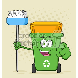 Open Green Recycle Bin Cartoon Mascot Character Holding A Broom And Pointing For Clining Vector With Halftone Background clipart. Royalty-free image # 402974