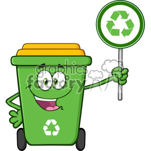 Cute Green Recycle Bin Cartoon Mascot Character Holding A Recycle Sign Vector clipart. Royalty-free image # 402979