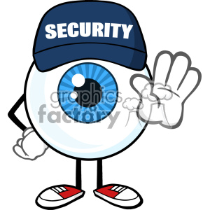 Blue Eyeball Cartoon Mascot Character Security Guard Gesturing A Stop Vector clipart. Commercial use image # 402989