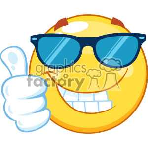10459 Smiling Yellow Emoticon Cartoon Mascot Character With Sunglasses Giving A Thumb Up Vector clipart. Royalty-free image # 402999