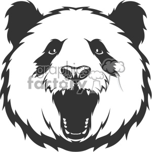 panda head roaring vector art