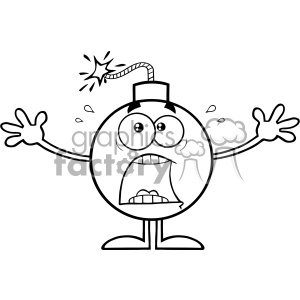 10784 Royalty Free RF Clipart Black And White Funny Bomb Cartoon Mascot Character With A Panic Expression Vector Illustration