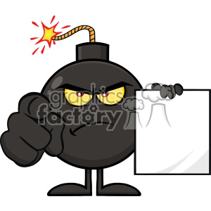 10807 Royalty Free RF Clipart Angry Bomb Cartoon Mascot Character Pointing Outwards And Holding A Blank Sign Form Vector Illustration clipart. Royalty-free image # 403616