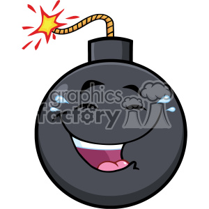 10832 Royalty Free RF Clipart Happy Bomb Face Cartoon Mascot Character With Smiling Expressions Vector Illustration