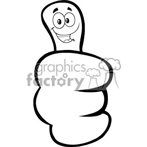 10697 Royalty Free RF Clipart Black And White Hand Giving Thumbs Up Gesture With Cartoon Face Vector Illustration clipart. Commercial use image # 403641