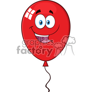 10737 Royalty Free RF Clipart Happy Red Balloon Cartoon Mascot Character Vector Illustration