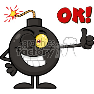 10791 Royalty Free RF Clipart Winking Bomb Cartoon Mascot Character Giving A Thumb Vector With Text OK clipart. Commercial use image # 403661