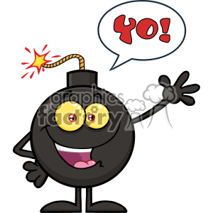 10780 Royalty Free RF Clipart Happy Funny Bomb Cartoon Mascot Character Waving For Greeting With Speech Bubble And Text Yo! Vector Illustration clipart. Commercial use image # 403681