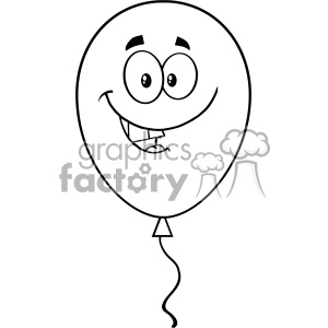 10745 Royalty Free RF Clipart Smiling Black And White Balloon Cartoon Mascot Character Vector Illustration clipart. Royalty-free image # 403691