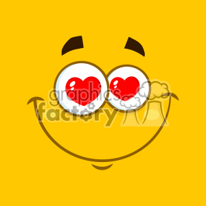10895 Royalty Free RF Clipart Smiling Love Cartoon Square Emoticons With Hearts Eyes And Expression Vector With Yellow Background clipart. Commercial use image # 403696