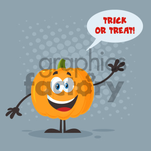 Happy Orange Pumpkin Vegetables Cartoon Emoji Character Waving For Greeting Vector Illustration Flat Design Style With Background Speech Bubble And Text Happy Halloween_1 clipart. Royalty-free image # 403945