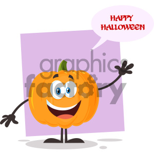 Happy Orange Pumpkin Vegetables Cartoon Emoji Character Waving For Greeting Vector Illustration Flat Design Style Isolated On White Background With Speech Bubble And Text Happy Halloween clipart. Royalty-free image # 403959