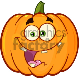 Crazy Orange Pumpkin Vegetables Cartoon Emoji Face Character With Expression Vector Illustration Isolated On White Background clipart. Commercial use image # 403968