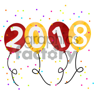 2018 new year party balloons vector art clipart. Commercial use image # 404013