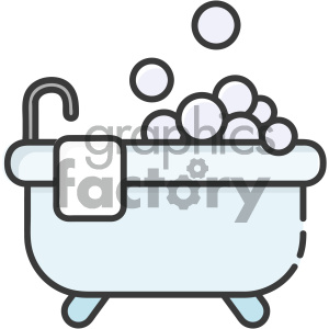 cartoon art bath bubbles bathing wash hygiene