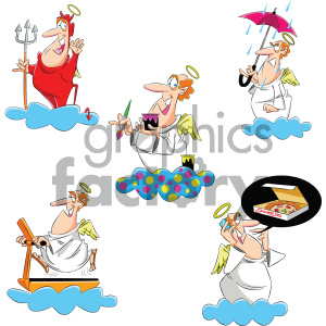 cartoon set angels mascot angel character religion