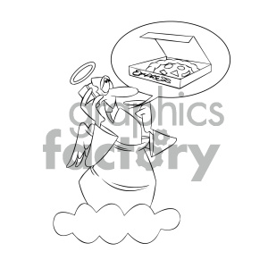 black and white cartoon angel ordering pizza clipart. Commercial use image # 404166