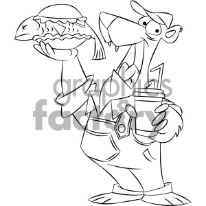 black and white cartoon bear with a fish sandwich clipart. Commercial use image # 404179