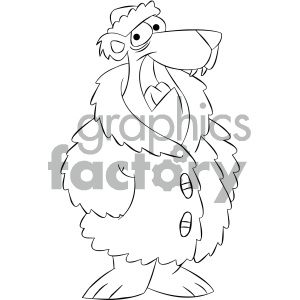 black and white cartoon bear wearing a fur coat clipart. Royalty-free image # 404184