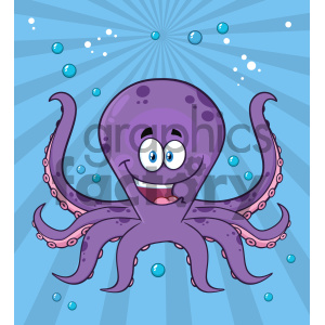 Royalty Free RF Clipart Illustration Happy Purple Octopus Cartoon Mascot Character Swimming Underwater Vector Illustration With Blue Background background. Royalty-free background # 404242